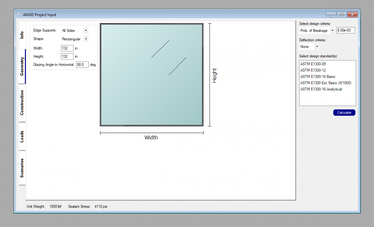 Advanced Window Glass Design geometry tab.